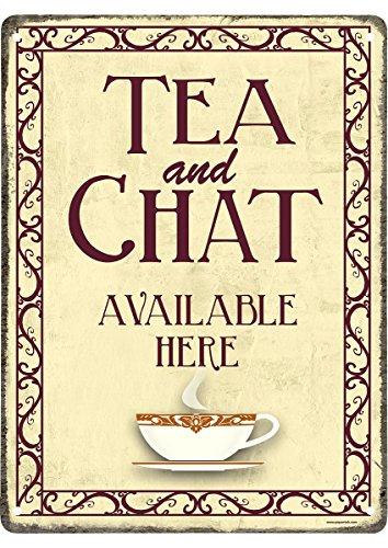 Tea And A Chat Blechschild beige (15x20cm)