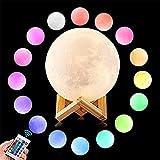 ZX 9 cm 3D Druck Mond Lampe, Wiederaufladbare 16 Farbwechsel Touch-Schalter Schlafzimmer Nachtlicht Mond Dimmbare Baby Nachtlicht Wohnkultur Innenbeleuchtung