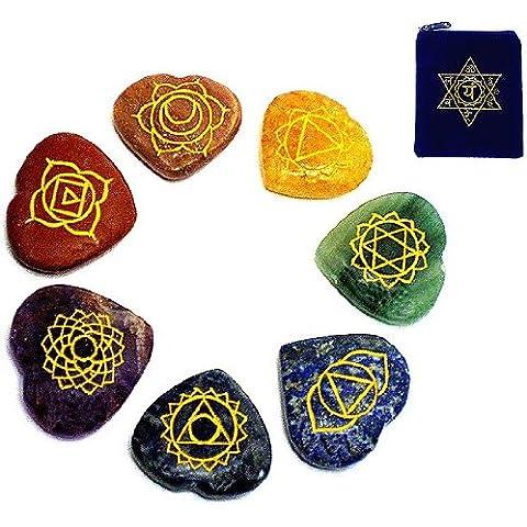 REIKI Chakra, con cuore del Chakra, confezione da 7, a forma di cuore, con simboli dei Chakra, con incisione - Stone Therapy Set