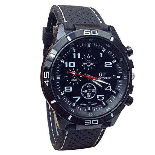 Sport orologio da polso, FEITONG quarzo orologio uomo militare orologi in silicone moda ore (bianca)
