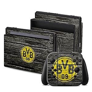 DeinDesign Skin Aufkleber Sticker Folie für Nintendo Switch Borussia Dortmund BVB Holzoptik