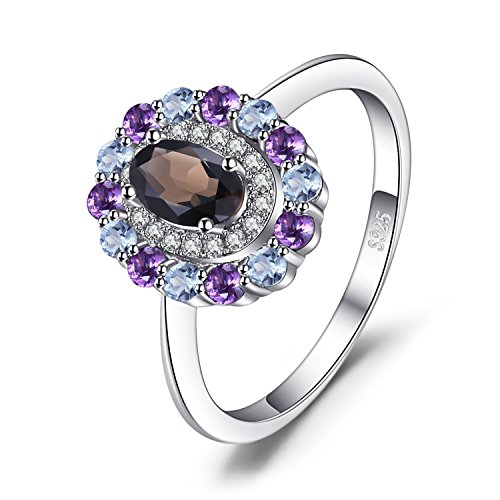 JewelryPalace 1ct echte Rauch quarz Himmel Blau topas Amethyst Cluster Ring 925 Sterling Silber