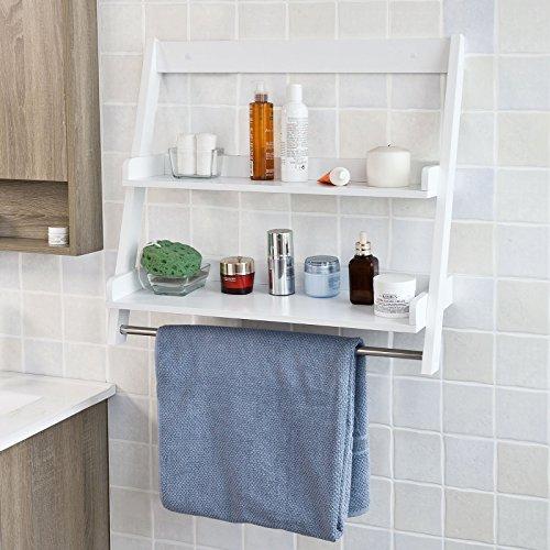 sobuy estantera de pared toalleros repisa estantera de bao de mdf blanco frgw es