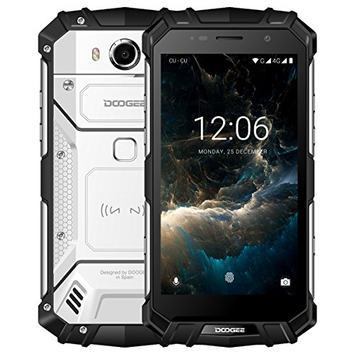 "DOOGEE S60 Smartphone Libre IP68 Impermeable Dual SIM Android 7.0 Movile, Pantalla de 5.2"" FHD Helio P25 Octa Core 6GB+64GB Cámara Trasera 21MP Batería 5580mAh 12V2A Carga Rápida Huella Digital -Plata"