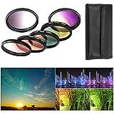 BPS 6pcs kit de filtres couleur progressifs ( filtre dégradé gris, rouge, orange, vert, jaune, violet ) + sac pour filtres en Nylon +Kit de nettoyage d'objectif pour Canon Nikon Sony Olympus et les Autres Reflex Numérique avec 52mm Filetage de lentille
