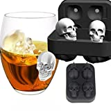 Morwind Skull Shape 3D Ice Cube Mold Maker Bar Party Silicone Trays Chocolate Mold Gift (Black)
