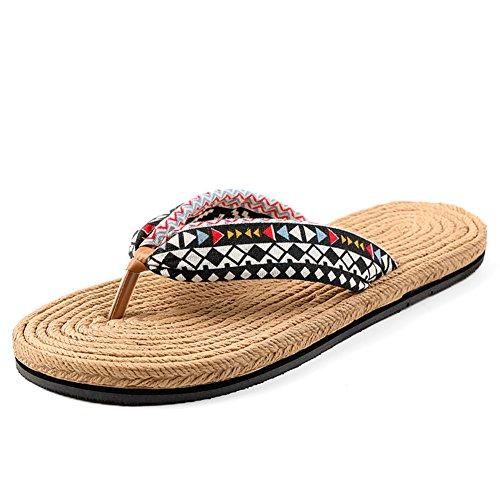 Fine corda modello ladies infradito/estate trascina fondo piatto antiscivolo clip/Pantofole/Scarpe con la suola spessa spiaggia C