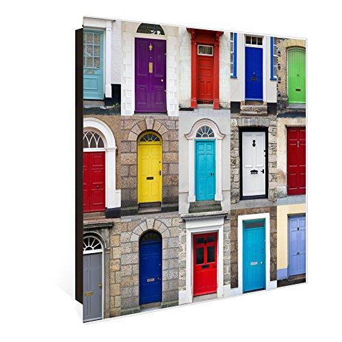 banjado Großer Schlüsselkasten aus Glas | Schlüsselbox mit 50 Haken | beschreibbare Glastür | als Magnettafel nutzbar | Schlüsselaufbewahrung 30cm x 30cm | Motiv Türen Scharniere Links - Glas Tür Scharnier Links