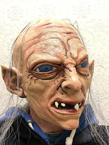 Gollum Maske Deluxe Mit Kapuze Latex Sméagol Hobbit Ringe Kostüm (Kostüme Smeagol)