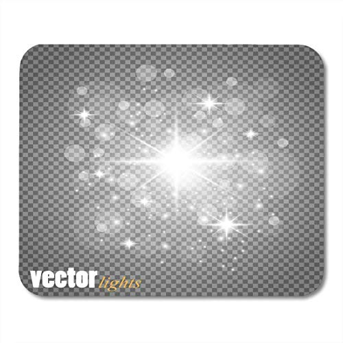 Mouse Pads Silver of Golden Glowing Lights Effects Sun Flash with Rays and Spotlight Glow Star Burst with Sparkles Mouse Pad