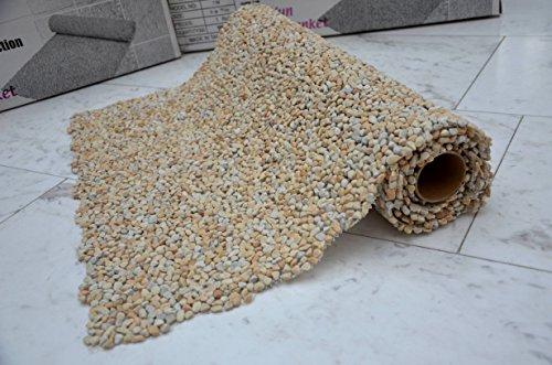 Natursteinteppich - natur für Innen und Außen aus italienischem extrem hartem Quarzkiesel (sonnenbeige)