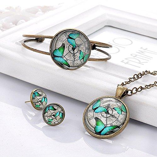 Lureme Temps Gem Series Disc Charme Stud boucles d'oreilles Open Bracelet Bracelet and Pendant Collier Parures for Women and Filles (09000421) (blanc Loup) Dragonfly