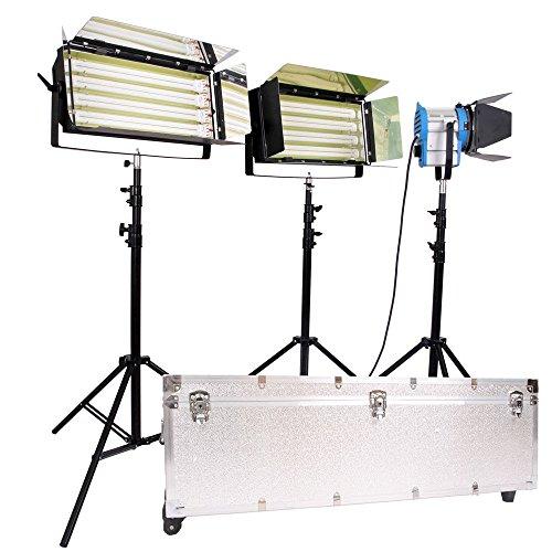 Video Studo Lighting Kit Fresnel Tungsten Lichter Fluorescent 4 Bank Light Flight - Tungsten Light Kit