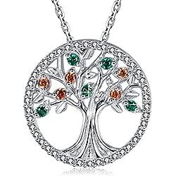 MEGA CREATIVE JEWELRY Lebensbaum Silber Damen Kette mit Kristallen von SWAROVSKI Halskette Schmuck Geschenke Damen Familienstammbaum Kette mit Anhänger Liebesgeschenk mit schöner Verpackung