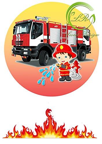 Tortenaufleger Feuerwehr Geburtstag, ... Deckopapier, Zuckerpapier Ca. 20Ø