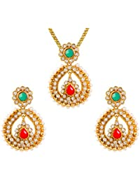 Dancing Girl Bridal Dulhan Red Green Metal Alloy Pendant Set With Chain Jewellery Sets For Women