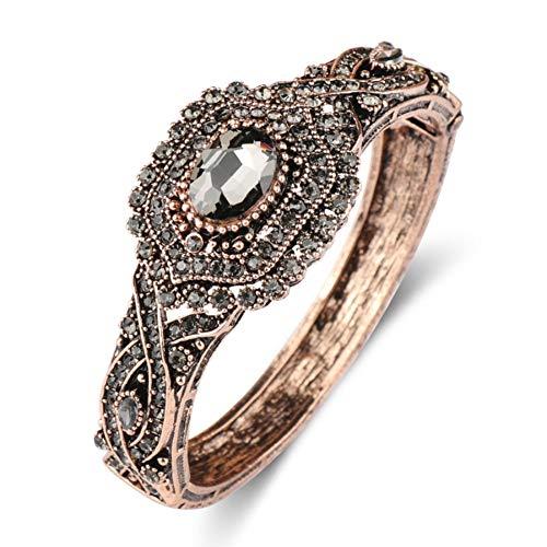 Antike Türkei (MHOOOA Kristall Böhmen Armband Armreif Für Frauen Antik Gold Türkei Ethnische Blume Manschette Brazalete Vintage Schmuck)