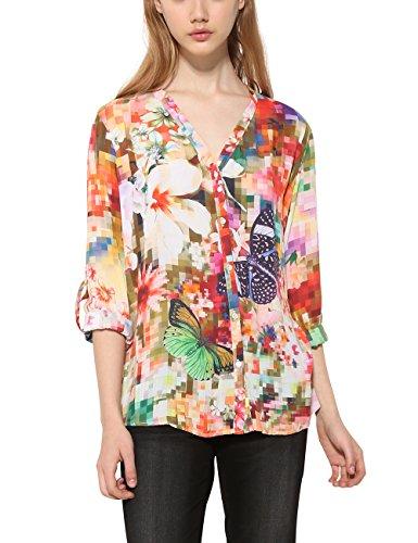 Desigual Damen CAM_SOL Hemd, Grün (Verde Botella 4009), Medium - Kimono-tasche Geldbörse