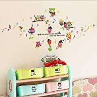 Fagreters 187 * 77Cm Owl Musical Note Cartoon Nursery Living Room Bedroom Removable Furniture DIY Wall Stickers Decal Decor Mural