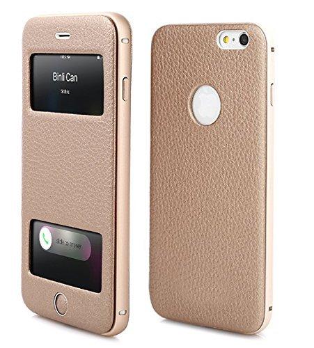 PhoneStar Premium Echtleder Apple iPhone 6 Plus, 6s Plus Flip-Cover mit Sichtfenster Schutzhülle Aluminium CNC gefräst - gold