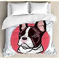 Abakuhaus - Juego de Cama Doble, diseño de Bulldog francés Hipster, 3 Piezas,