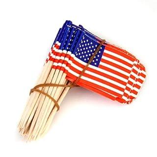SODIAL(R) 50X Amerikanische Flagge Tortendekoration kleiner Kuchen-Angebote