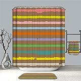 YuLl Die Farbe des Minimalistischen Duschvorhang Badezimmer Wasserdicht Anti-schimmel Vorhänge Vorhänge an Den Fenstern mit 12 Haken 100% Polyester W180*H 200cm (71 x 79 Zoll