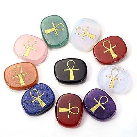 QGEM 10pcs ägyptischen Ankh Chakra Stein gravierte Chakra Symbol Tasche Palm Stone Reiki Divination mit Box Set