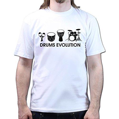 Evolution of Drums Zildjian Paiste Pearl Drumsticks T-shirt, Größe:XL;Farbe:Weiß (Pearl Drum-bekleidung)
