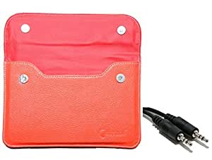 Chevron Pouch Cover Case For Swipe Fablet F3 Tablet With Aux Cable (Red)
