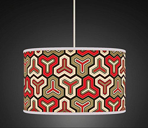 60cm (61cm) rot schwarz beige Retro Geometrische handgefertigt Giclée-Style bedruckter Stoff Lampe Drum Lampenschirm Boden oder Decke Pendelleuchte Schatten 546 (Rot Lampenschirm Drum)