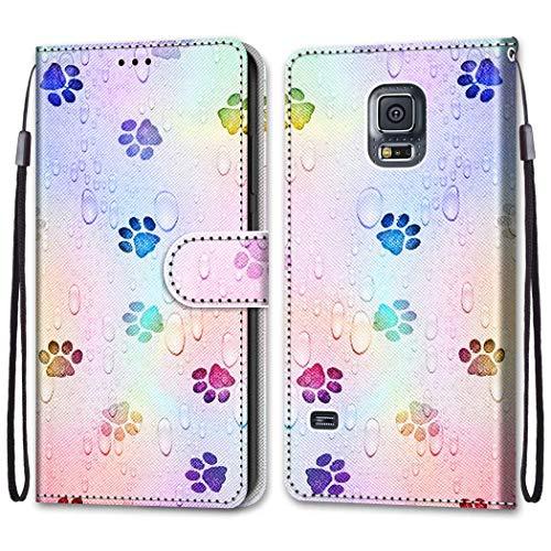 Nadoli Bunt Leder Hülle für Samsung Galaxy S5,Cool Lustig Tier Blumen Schmetterling Entwurf Magnetverschluss Lanyard Flip Cover Brieftasche Schutzhülle mit Kartenfächern