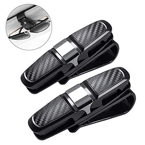 unibelin Brillenhalter für Auto Sonnenblende, 2 Stück Sonnenbrillenhalterung Auto Doppelenden Brillenhalterung 180°Rotational Brillen Clip mit Karten Clip - Schwarz