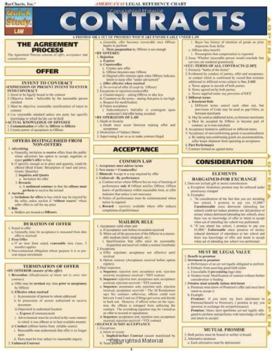 Quick Study Law Contracts by BarCharts, Inc. (2006) Pamphlet