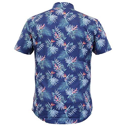 Herren Hawaii Blumen Bluse Threadbare Palmen Motiv Kurzärmelig Strand Sommer Marineblau - KMV092PKA