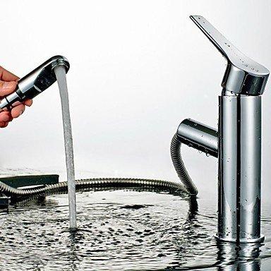 hzzymj-contemporary Pull Centerset Keramik Ventil für Sprühen Hebel Einlochmontage chrom Waschbecken Wasserhahn -