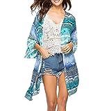 OSYARD Damen Nationale Winddruck-Abdeckung Bluse Tops Bikini Bademode Strand Badeanzug Kittel(EU 56/XL, Blau)