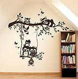 Wandtattoo Wandaufkleber Eulen Waschbären auf Zweig Ast Eulenwandtattoo M1545 - ausgewählte Farbe: *Schwarz* - ausgewählte Größe: L 100cm breit x 90cm hoch