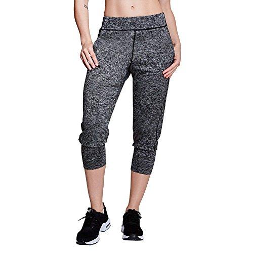 Matymats Damen Sport Capris Harem Jogginghose Workout Gym Active Hose mit Taschen M Blackmarl Capri Crop Hose