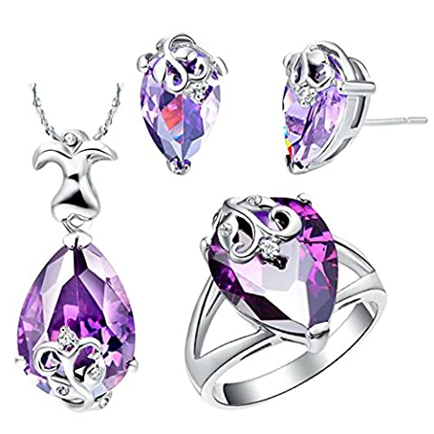 AnaZoz Jewelry Fashion Jewelry Sets for Women Austrian Crystal Silver Plated Water Drop Shape Purple Stone Necklace and Earrings and Ring Jewelry Sets Three Pieces Color Purple Ring Size N 1/2