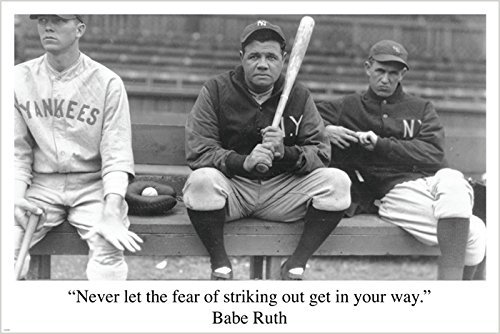 BABE RUTH BASEBALL QUOTE sports pic poster RARE HOT NEW one-of-a-kind 24X36 - 2 TO 5 DAYS SHIPPING FROM USA by HSE