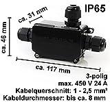 edi-tronic Verteilerdose 3 polig IP65 Wasserdicht Kabelverbinder Verbindungsbox Dosenmuffe