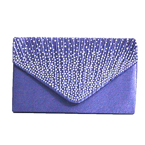 Satin Glänzend Strass Hochzeit Abendtasche Clutch Handtasche Handtasche Multicolor Purple1