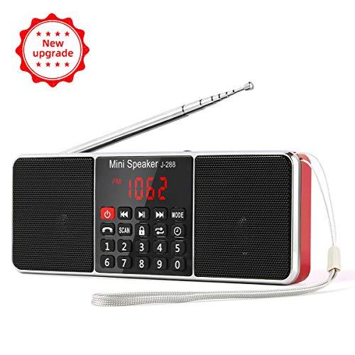 PRUNUSTM J-288 Portatili Radio AM(MW)/FM con L'altoparlante e Funzione Bluetooth, Lettore Musicale MP3, Supporto Micro SD/USB, AUX Line-In 3.5mm, Schermo LED, Funzione Sleeping Clock.
