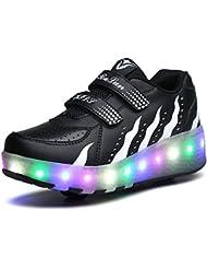 SGoodshoes Niños LED Zapatos Patín Ruedas Intermitente 7 Colores Calzado Deportivo de luz Luminoso Formadores Flying Zapatillas Adulto