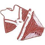 AiSi Maedchen modern Bikini Set Badeanzug Bademode Bikinihose Bikinioberteile Neckholder,alte europäisch Stil, Schleife rot