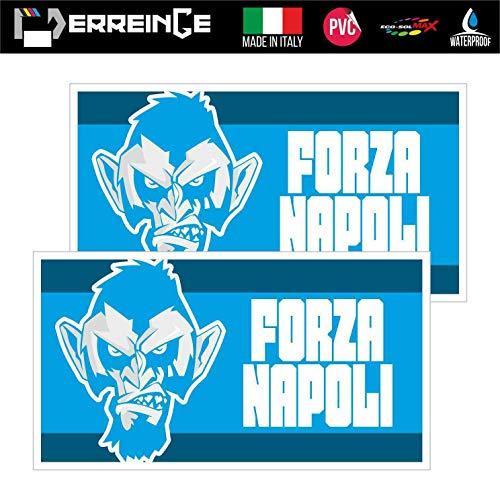 erreinge Sticker x2 Napoli Ultras Supporters Bandiera Adesivo Sagomato in PVC per Decalcomania Parete Murale Auto Moto Casco Camper Laptop - cm 10