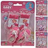 Puppenausstattung 1 Paar Schuhe mit Socken für New Born Baby Puppen 38-43 cm - Puppenzubehör...