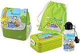 Mein Zwergenland Set 5 Kindergartenrucksack mit Brotdose Maxi, Turnbeutel Baumwolle und Flasche Happy Knirps NEXT Print mit Name Bagger, 4-teilig, Grün