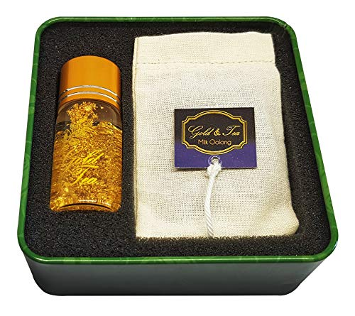 Milk Oolong, 2 Tea Bags 100% Cotton and a Glass Bottle with 50mg of 24k Edible Gold Leaf and 10ml of Spring Water. Unique and Original. Gold & Tea.